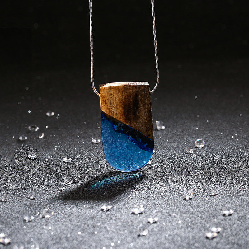 Slant Blue - Wood & Resin