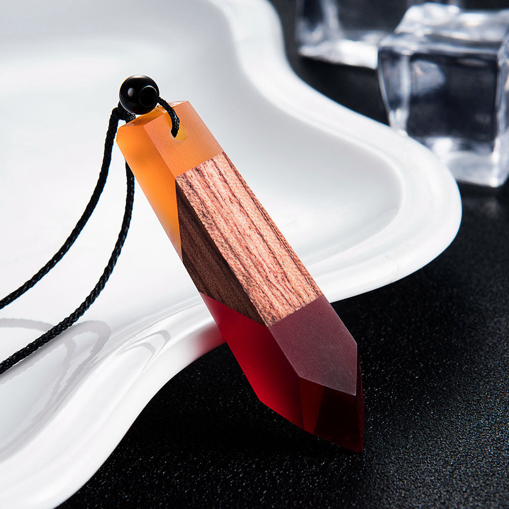 Wood & Orange & Red - Crystal Resin + Wood Necklace