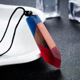 Wood Blue & Red - Crystal Resin + Wood Necklace