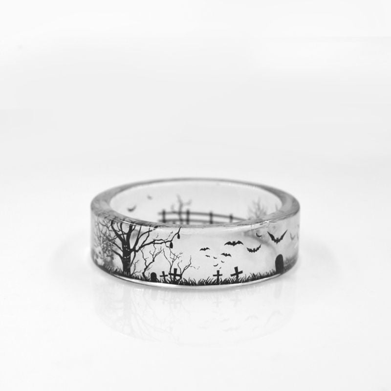 dark gothic graveyard bats transparent resin ring
