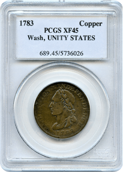 1783 Colonial, Washington Copper. Unity States Cent PCGS XF45