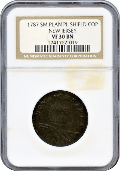 1787 SM Plan PL Shield Copper New Jersey NGC VF30BN