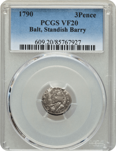 1790 3PENCE Standish Barry Threepence PCGS VF20 Breen-1019, Rarity 6    Only 13 Coins Known Between PCGS & NGC
