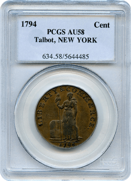 1794 Talbot, New York Cent PCGS AU58
