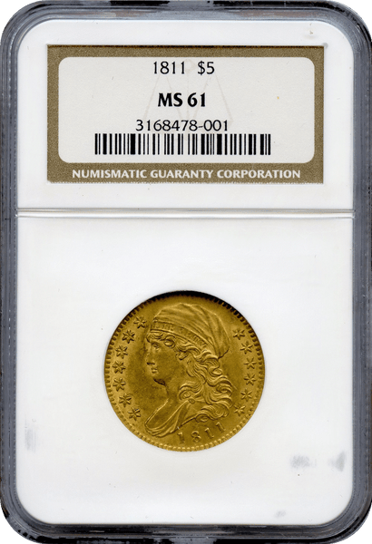 1811 $5 Small 5 Gold Capped Bust NGC MS61
