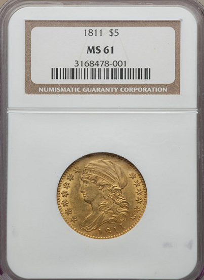 1811 $5.00 Gold Capped Bust NGC MS61