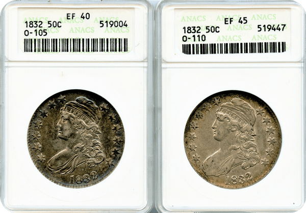 1832 50c Drapped Bust Small Letters SET. Anacs EF40 & EF45