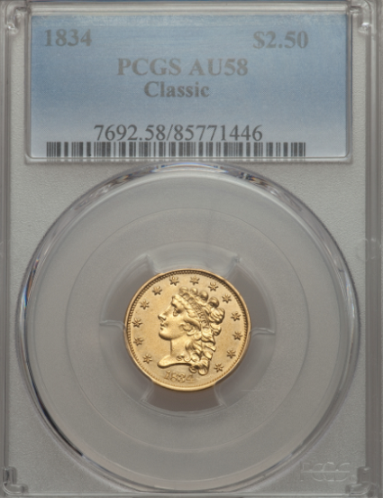 "1834 $2 1/2 Classic Head  No Motto AU58 PCGS, ""Brilliant Light Yellow Obv. Lustrous Raised Devices Rev"""