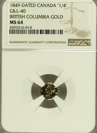 1849 British Columbia 25c NGC MS64