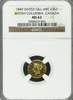 1849 British Columbia $2.00 GOLD NGC MS63