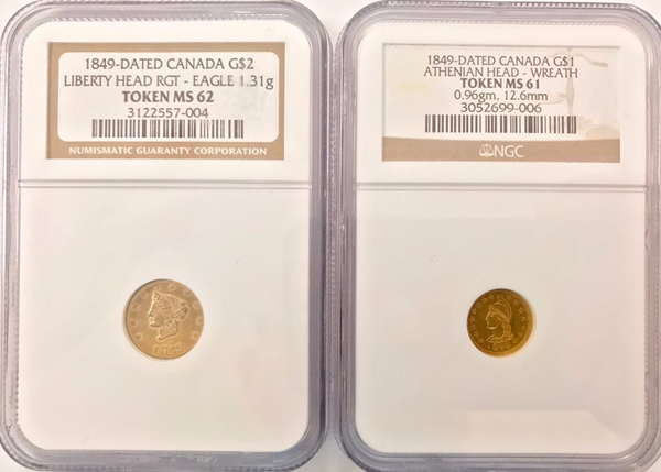 1849 British Columbia Gold Set. G$1 NGC MS61 G$2 NGC MS62