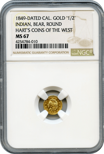 "1849 California Gold ""1/2"" Indian, Bear, Round. Hart;s Coins of the West NGC MS67"
