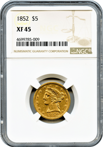1852 $5 Gold Liberty NGC XF45