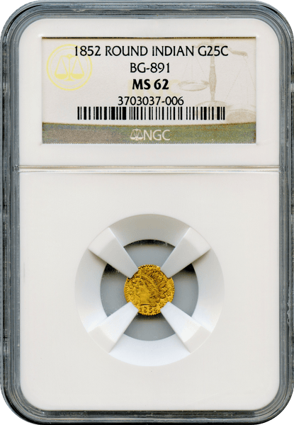 1852 California Fractional 25c BG-891 NGC MS62 Low Rarity 5