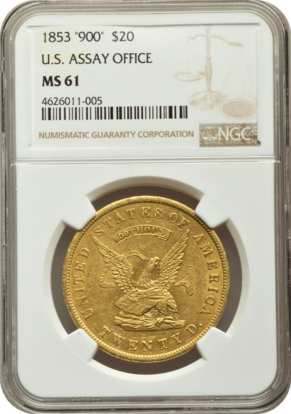 1853 $20 Twenty D. Assay Office 900 Thous NGC MS61