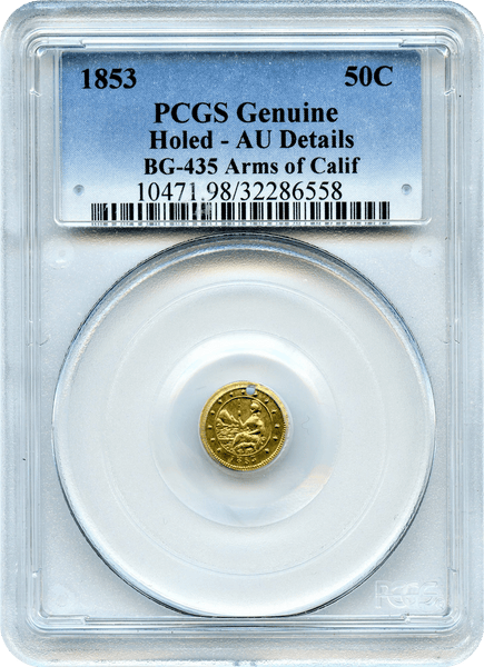 1853 California Fractional BG-435 Arms of California 50c PCGS AU Details