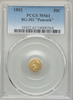 "1853 Cal Gold BG-302 50c PCGS MS61 Obv. Broad Head Liberty, Rev. Peacock. ""Peacock Aka Small Eagle With Rays"" ""Frontier S.F."""
