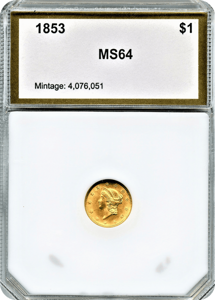 1853 Type 1 Gold $1.00 PCI MS64