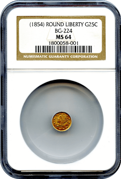 1854 California Fractional 25c BG-224 Round Liberty NGC MS64