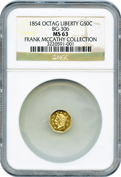 "1854 California Fractional 50c BG-306 Octagonal Broad Head Liberty ""Frank Mccathy Collection"" ""Brilliant"""