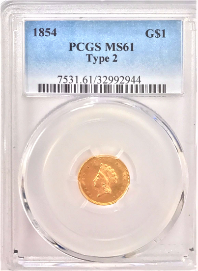 1854 Type 2 Gold $1.00 PCGS MS61
