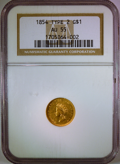 1854 Type II $1.00 NGC AU55  Gold Dollar