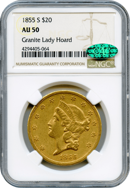 "1855-S $20 Gold Liberty NGC AU50 ""Granite Lady Hoard"" CAC"
