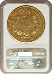 1855 $50     Fifty Dollar Wass Mollitor & Co NGC AU53