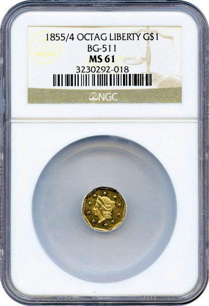 1855/4 California Gold $1 BG-511 Octagonal liberty NGC MS61