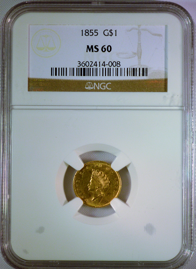 1855 Type II G$1.00 PCGS MS60 Gold Dollar