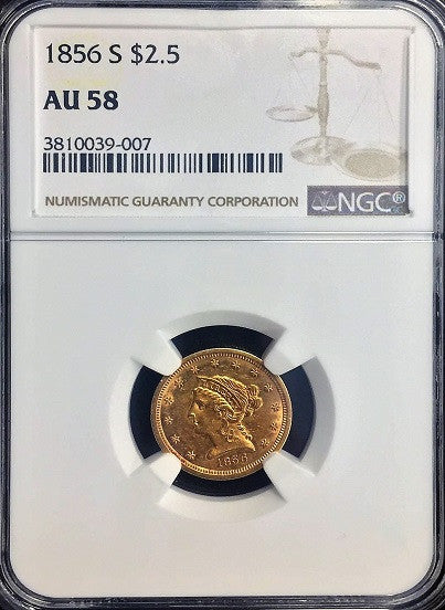 1856-S $2.50 Gold Liberty NO MOTTO NGC AU58
