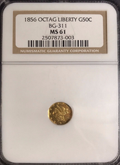 "1856 Cal Gold 50c BG-311 NGC MS61 Octagonal Large head Liberty ""Lighty Toned with Brilliant Highlights"""