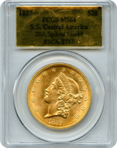 1857-S $20 Gold Liberty S.S. Central America  PCGS MS 64