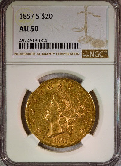 1857-S  $20 Gold Liberty NGC AU50 Double Eagle
