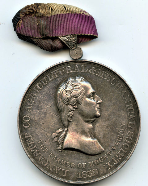1858 Lancaster County Agricultural and Mechanical Society Medal. Silver. 45 mm.