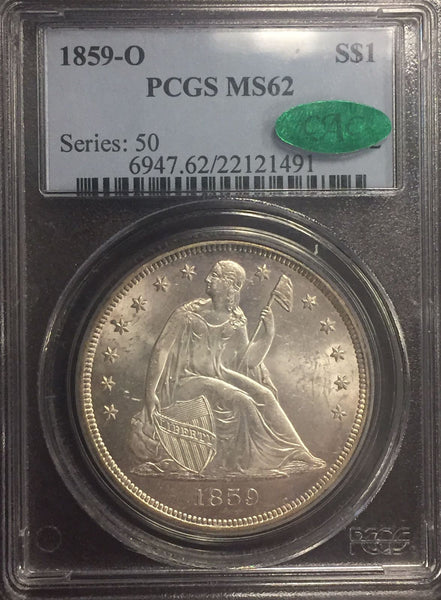 "1859-O  $1 Seated Liberty. Silver ""white"" PCGS MS62CAC"