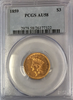 1859 $3.00 Gold Indian Princess PCGS AU58 Three Dollar