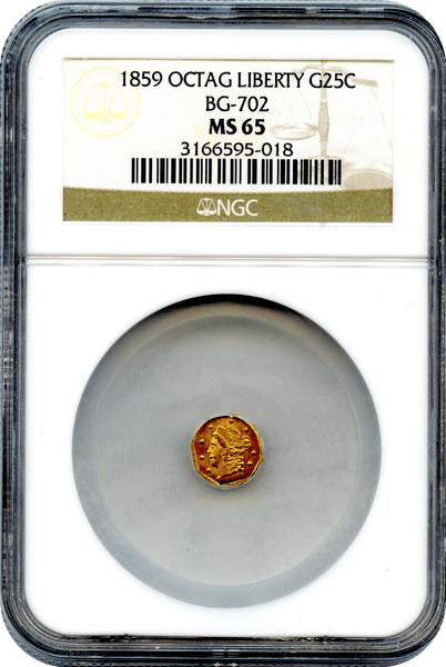 (87) 1859 California Fractional 25c BG-702 Octagonal Liberty NGC MS65