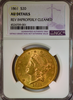 1861 $20 Gold Liberty NGC AU Details Double Eagle
