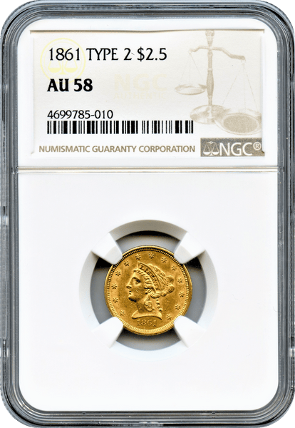 1861 $2.50 Gold Liberty Type 2 NGC AU58
