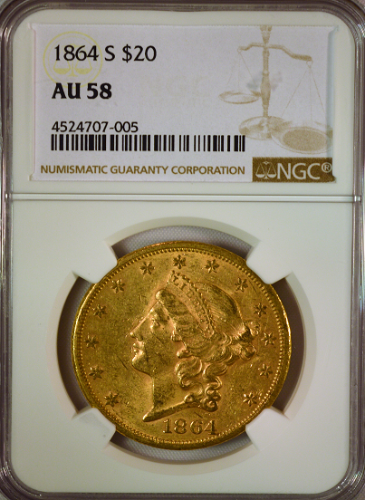 1864-S $20 Gold Liberty NGC AU58 Double Eagle