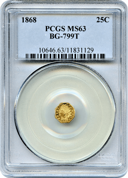 1868 Cal Gold 25c BG-799T Octagonal Large Head Indian PCGS MS63