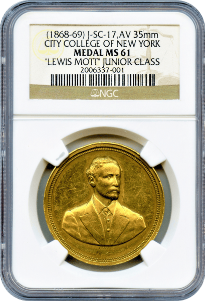 (1868-69) U.S. Mint Julian-SC-17, GOLD 35mm. City College of New York. NGC MS61