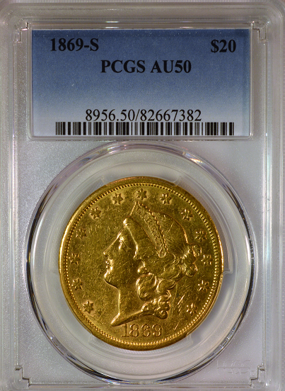 1869-S $20 Gold Liberty PCGS AU50 Double Eagle