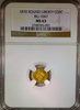 1870 California Fractional Gold 50c BG-1047 NGC MS63