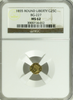 1855 Cal Gold 25c BG-227 Round Small Head Liberty NGC MS62