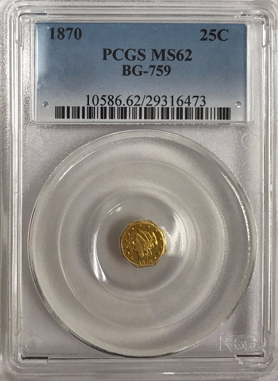 1870 Cal Gold 25c BG-759 Large Head Octagonal Liberty Single Bun PCGS MS63