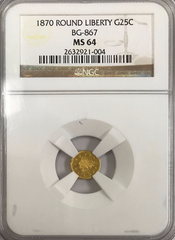 1870 California Fractional 25c BG-867 NGC MS64