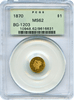 1870 California Round Gold $1 BG-1203 OLD GREEN HOLDER PCGS MS62 LOW RARITY 5