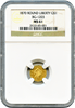 1870 Cal Gold $1 BG-1203 Round Liberty  NGC MS61